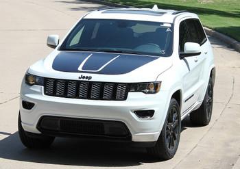 front angle of white Jeep Grand Cherokee Hood Graphics TRAIL HOOD 2011-2018 2019