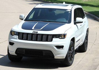 front angle of white 2018 Grand Cherokee Hood Decals TRAIL HOOD 2011-2019 2020 2021