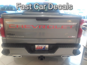 rear of charcoal 2019 Chevy Silverado Tailgate Stripes CHEVROLET Letters 2019-2020