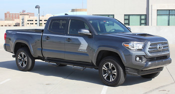 front angle of 2019 Toyota Tacoma Side Door Stripes STORM 2015-2020