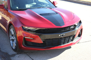 front angle of red 2019 SS Chevy Camaro Hood Stripe SHOCK HOOD 2019-2020
