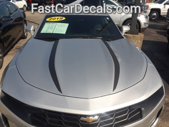 front of silver 2019 Chevy Camaro Hood Stripes WIDOW HOOD STRIPES 2020