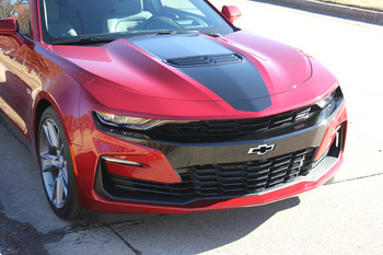 front angle of red 2019 Camaro Wide Center Graphic Stripes OVERDRIVE 19