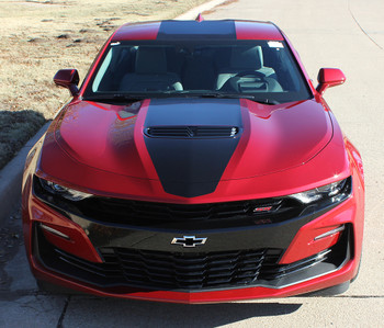 front of red 2019 Chevy Camaro Wide Center Decals OVERDRIVE 19 2019-2020