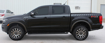 profile of black 2019 Ford Ranger Stripes UPROAR SIDE DECALS 2019 2020