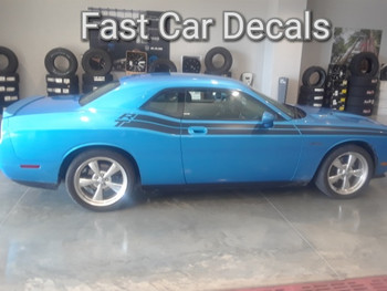 passenger side of blue 2017 Dodge Challenger RT Side Stripes DUEL 11 2011-2021