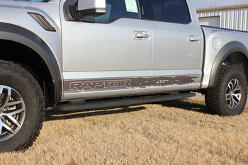profile of silver 2019 Ford F150 Raptor Stripes VELOCITOR ROCKER 2018-2020