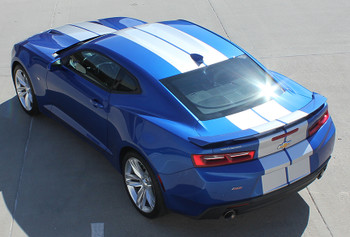 driver side of blue 2019 Camaro Racing Rally Stripes TURBO RALLY 19 2019 2020