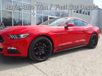 front angle of 2018 Ford Mustang Side Vinyl Graphics STALLION ROCKER 2016-2018 2019