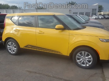 side of yellow 2020 Kia Soul Side Door Stripes SOULED ROCKER