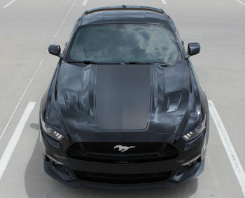 front view 2015 Ford Mustang Wide Hood Decals MEGA HOOD 2016 2017