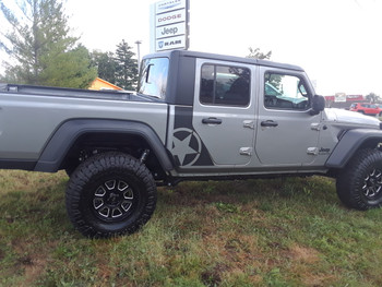 side of gray OMEGA SIDES : Jeep Gladiator Side Door Star Decals Vinyl Graphics Stripe Kit for 2020-2021