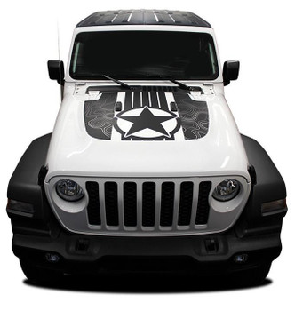 front of white 2020 Jeep Wrangler Hood Decals JOURNEY HOOD JL 2018-2021