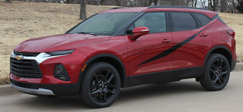 front angle of FLASHPOINT SIDE KIT | 2019-2021 Chevy Blazer Body Stripes