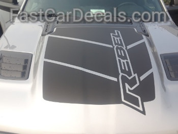 front of silver 2020 Ram 1500 Rebel REB HOOD Graphics 2019-2021