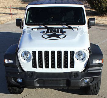 front of ALPHA STAR HOOD : 2021-2020 Jeep Gladiator / Wrangler Hood Stripes