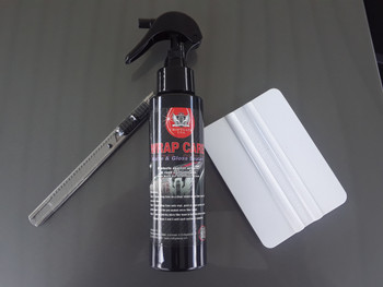 top of Basic Install Kit with Snap Knife, Plastic Squeegee & Wrap Vinyl Care Fluid