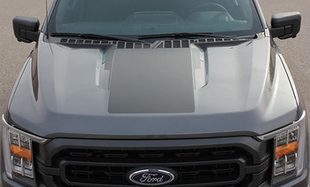 top of 2021 Ford F150 Truck Hood Stripes Package SWAY HOOD for 2021+