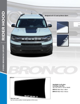 flyer for NEW Ford Bronco Hood Stripes RIDER HOOD 2021 and up All Models