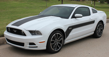 front angle of 2013-2014 Ford Mustang Hood and Side Decals Stripes FLIGHT