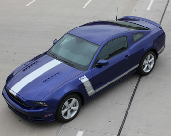 front angle BEST! 2014-2013 Ford Mustang Side and Hood Stripes PRIME 2