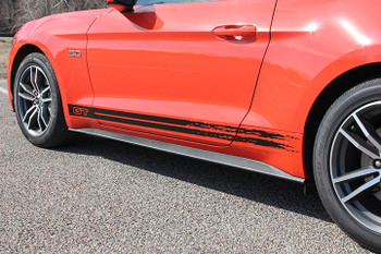 front side 2017 Mustang GT Rocker Fading Stripes 15 BREAKUP 2015-2017