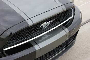 close up hood 2013-2014 Ford Mustang Center Wide Stripes VENOM KIT