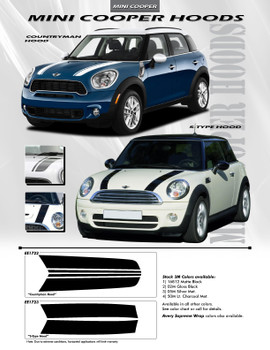 Mini Cooper Hood Stripes Countryman Decals Style Kit 2012-2015