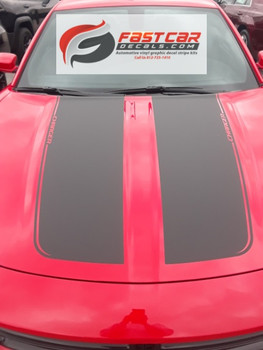 front of red RECHARGE 15 HOOD | Dodge Charger Hood Graphics 2015-2021