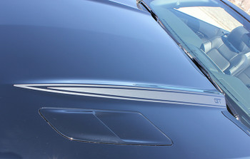close up hood 2016 Ford Mustang Hood Stripe Decals HOOD SPEARS 2015-2017