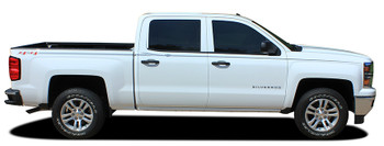 profile of white Chevy Silverado Upper Body Graphics ELITE 2013-2016 2017 2018