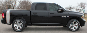 profile of black 2016 Dodge Ram Vinyl Graphics RUMBLE KIT 2009-2019