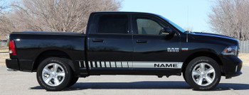 Side of black 2017 Ram Truck Stripes RAM ROCKER STROBE 2009-2019