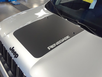 front angle of NEW! Factory style Jeep Renegade Hood Stripes RENEGADE HOOD