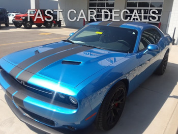 front angle of blue 2020 RT Hellcat Scat Pack Dodge Challenger Rally Stripes 2015-2021