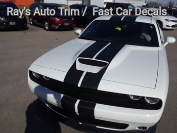 front angle of NEW! RT, Hellcat, Scat Pack Dodge Challenger Rally Stripes 2015-2020