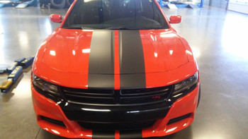 front of orange Dodge Charger Scat Pack Decals N-CHARGE 15 2015-2018 2019 2020 2021