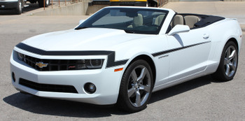front angle white 2009-2013 Chevy Camaro Hood and Side Stripes VINTAGE KIT