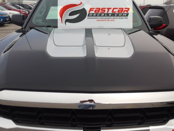 hood of black 2016 2017 2018 Chevy Silverado Hood Racing Stripes CHASE RALLY