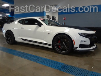 side of white Chevy Camaro SS Side Stripes SKID ROCKER 2016 2017 2018
