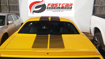 rear of yellow Dodge Challenger Blacktop Stripes PULSE RALLY 2008-2020