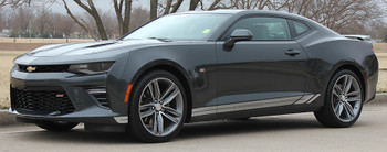 side view 2016 2017 2018 Camaro TREAD ROCKERS : Chevy Camaro Lower Rocker Panel Door Stripes Vinyl Graphics and Decals Kit (fits ALL MODELS)