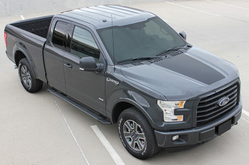 profile of NEW! Ford F150 Hood Stripes ROUTE HOOD fits 2015-2020 Easy Fit!