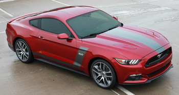 front of red BOSS style GT Ford Mustang Stripes STELLAR 2015-2017