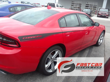 rear view of RECHARGE COMBO 15 : Dodge Charger Hood Decals and Side Stripe Decals