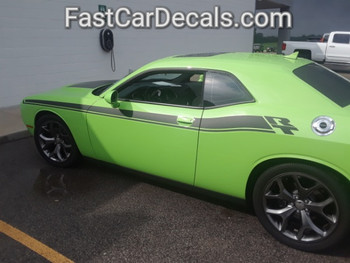 rear angle of 2018 Dodge Challenger Side RT Stripes DUEL 15 2015-2019 2020