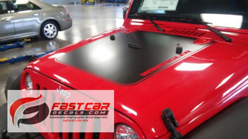 front of red 2016 Jeep Wrangler Hood Decals OUTFITTER 2008-2015 2016 2017