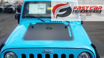 front of blue 2016 Jeep Wrangler Hood Decals OUTFITTER 2008-2015 2016 2017