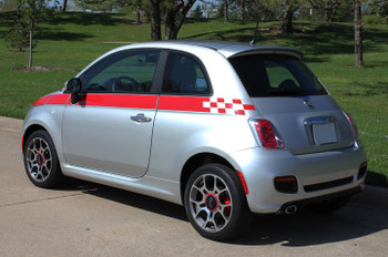 rear angle of Fiat 500 Custom Side Stripe Graphics SE5 CHECK 2012-2019