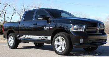 side angle of black 2017 Ram Decals RAM ROCKER STROBE 2009-2015 2016 2017 2018